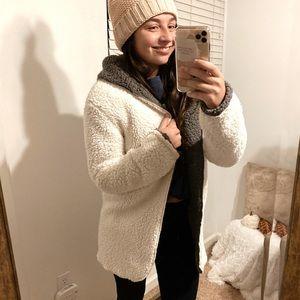 super soft reversible gray & white teddy coat